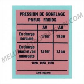 AUTOCOLLANT PRESSION GONFLAGE RENAULT R4 -...
