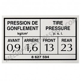TIRE PRESSURE STICKER