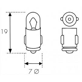 AMPOULE LAMPE 12 V. 2 W. TYPE TABLEAU BORD...