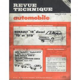 REVUE TECHNIQUE AUTOMOBILE RENAULT R18 - OPEL...