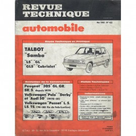 REVUE TECHNIQUE AUTOMOBILE TALBOT  SAMBA -...
