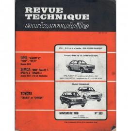REVUE TECHNIQUE AUTOMOBILE TOYOTA - OPEL - SIMCA