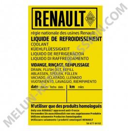 STICKER RENAULT Coolant