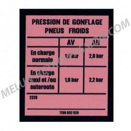 INFLATION PRESSURE STICKER RENAULT R4-F6 -...