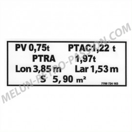 TARE PLATE STICKER RENAULT R4 VAN F6
